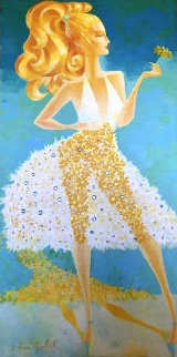 Daisy Star 2011 36x18 Embellished Original Painting by Alina Eydel