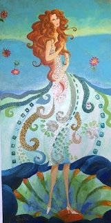 Birth of Venus 2010 36x18 Original Painting - Alina Eydel