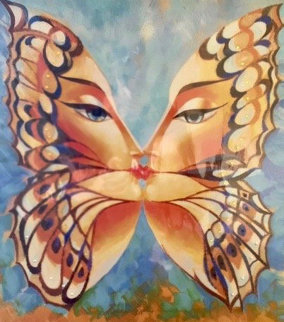 Butterfly Kiss III-Blue 2010 24x20 Embellished Limited Edition Print - Alina Eydel