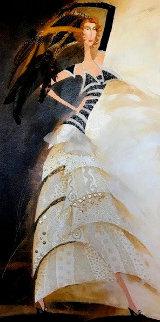 Slim And Tall Sail Dress Design 2005 36x18 Original Painting by Alina Eydel