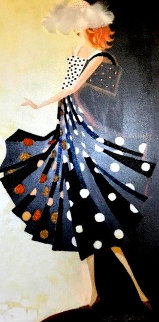 Black And White Glamour Dot 2009 36x18 Huge Original Painting - Alina Eydel