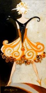 Black and White Glamour: Heliconia I 2006 18x36 Original Painting - Alina Eydel