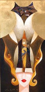 Siamese Turban 2006 18x36 Original Painting - Alina Eydel