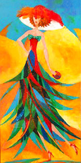 Palm Tree Hat: Tropical Collection 2007 43x26 Original Painting - Alina Eydel