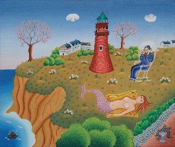 Captain Mermaid 1975 20x24 Original Painting - Gisela Fabian