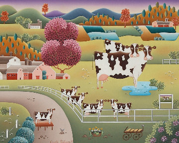 Cow Family 1991 26x34 Original Painting - Gisela Fabian