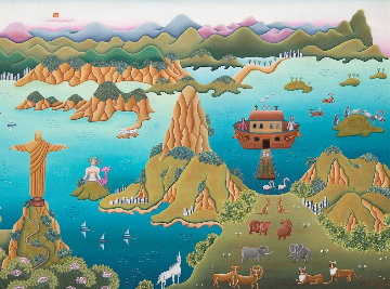 Noah Lands in Rio 1987 30x38 Original Painting - Gisela Fabian