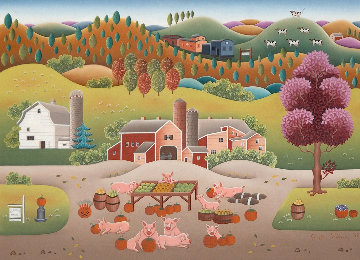 Hog Heaven 1993 24x30 Original Painting - Gisela Fabian