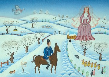 Winter Wedding 1978 26x34 Original Painting - Gisela Fabian