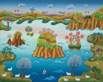 Paradisical Landscape 1978 30x36 Original Painting - Gisela Fabian