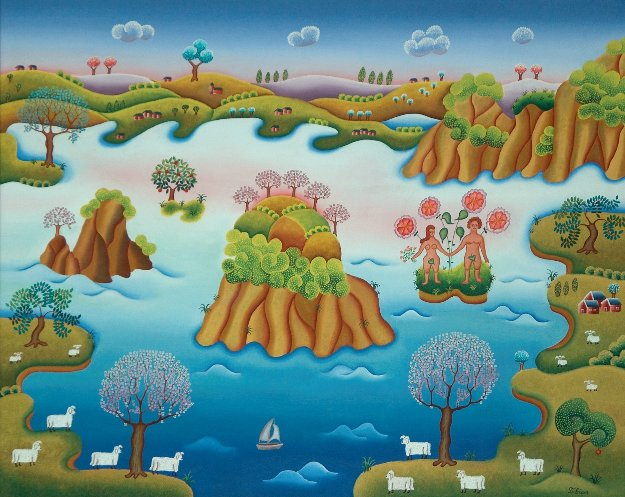 Paradisical Landscape 1978 30x36 Original Painting by Gisela Fabian