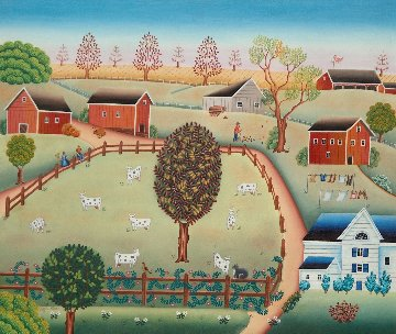 Breeding Farm 1982 28x32 Original Painting - Gisela Fabian