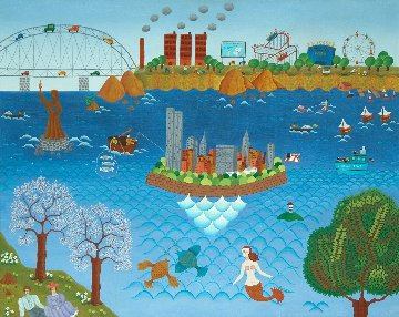 New York Fantasy 1978 30x36 Original Painting - Gisela Fabian