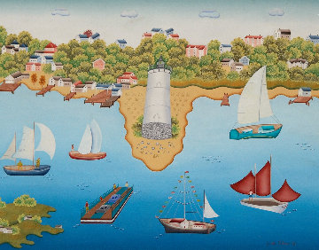 Regatta At Martha's Vinyard 1985 28x34 Original Painting - Gisela Fabian
