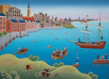 Boston Tea Party 1993 22x28 Original Painting by Gisela Fabian