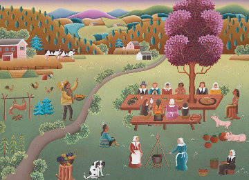 Thanksgiving With Squanto 1994 22x26 Original Painting by Gisela Fabian