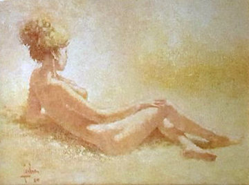 Nue Blonde 1980 23x28 Original Painting - Louis Fabien