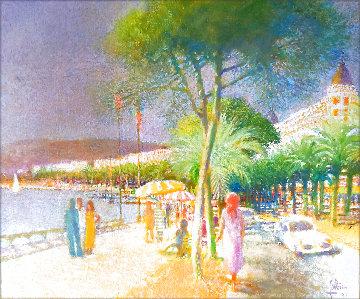 Untitled Seascape 1977 24x29 Original Painting - Louis Fabien