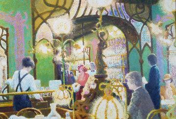 Bistro De Lagare 1980  40x54 Original Painting - Louis Fabien