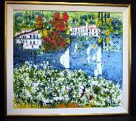 Saló Sul Lago Di Garda 1985 40x36 Super Huge Original Painting by Athos Faccincani - 1