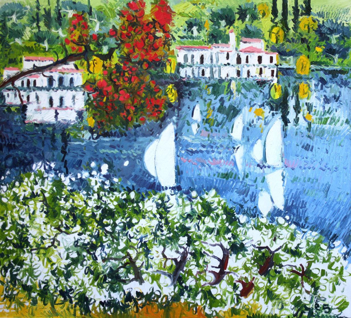 Saló Sul Lago Di Garda 1985 40x36 Super Huge Original Painting by Athos Faccincani