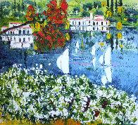 Saló Sul Lago Di Garda 1985 40x36 Super Huge Original Painting by Athos Faccincani - 0