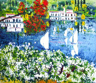 Saló Sul Lago Di Garda 1985 40x36   Original Painting by Athos Faccincani - 0