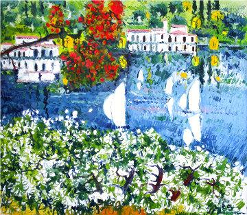 Saló Sul Lago Di Garda 1985 40x36   Original Painting - Athos Faccincani