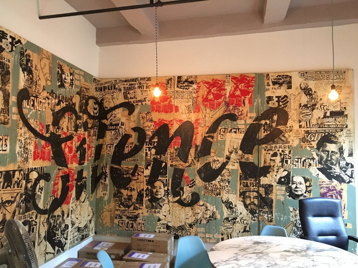 Silence Mural 96x240 Huge Original Painting by  FAILE