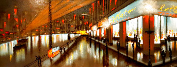 Untitled Street Scene 20x50 Huge Original Painting - Roy Fairchild-Woodard