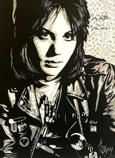 Joan Jett the Runaway 2013 Double Signed Limited Edition Print by Shepard Fairey