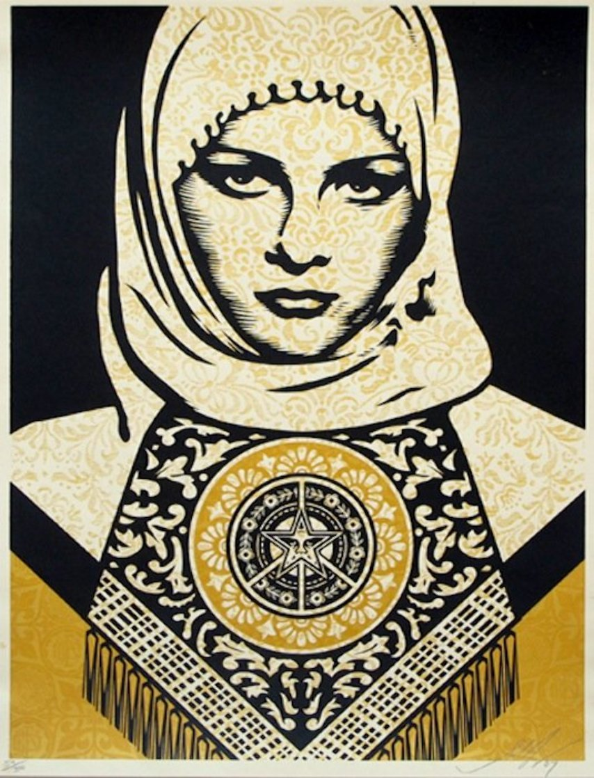 Arab Woman (Gold) 2008 Limited Edition Print by Shepard Fairey