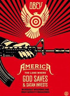 God Saves and Satan Invests  AP 2013 Limited Edition Print by Shepard Fairey