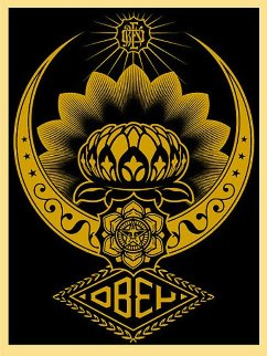Lotus Ornament Gold 2008 Limited Edition Print - Shepard Fairey