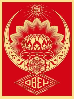 Lotus Ornament Red  2008 Limited Edition Print by Shepard Fairey