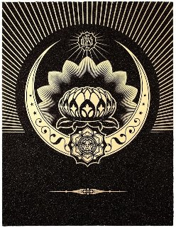 Obey Lotus Crescent (Black/Gold) 2013 Limited Edition Print by Shepard Fairey