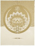 Obey Lotus Crescent (White/Gold) 2013 Limited Edition Print by Shepard Fairey  - 0