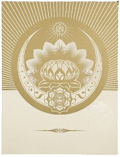Obey Lotus Crescent (White/Gold) 2013 Limited Edition Print - Shepard Fairey