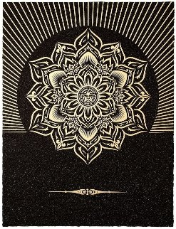 Obey Lotus Diamond (Black/Gold) 2013 Limited Edition Print by Shepard Fairey
