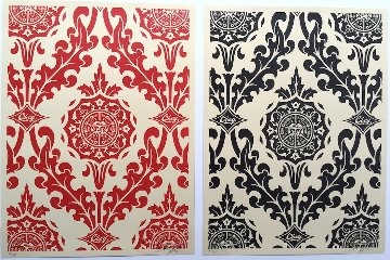 Parlor Pattern Cream, Red And Black 2010 Limited Edition Print - Shepard Fairey