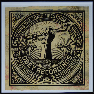 Sonic Firestorm 2013 42x42 Hand Painted Works on Paper (not prints) by Shepard Fairey