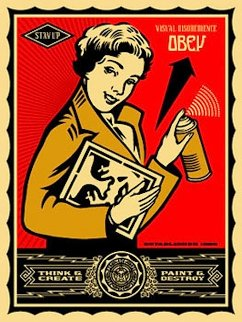 Stay Up Girl 2004 Limited Edition Print by Shepard Fairey