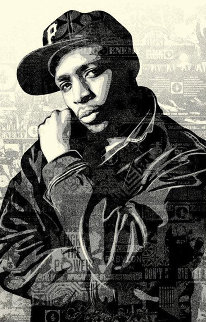 Chuck D Black Steel  Limited Edition Print - Shepard Fairey