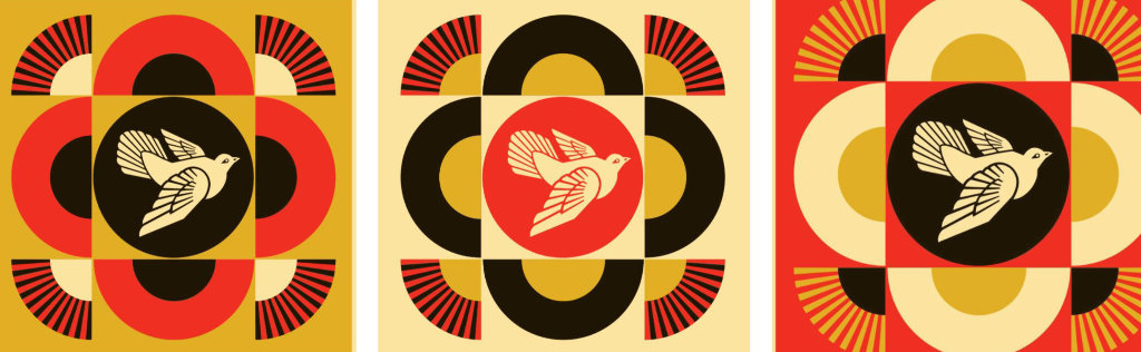 Dove Geometric Set of 3 Limited Edition Print by Shepard Fairey