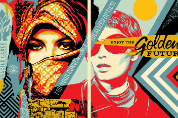 Golden Future For Some Set of 2 Limited Edition Print - Shepard Fairey