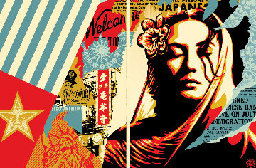 Welcome Visitor Set of 2 Limited Edition Print - Shepard Fairey