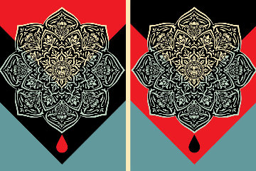 Blood And Oil Mandalas Set of 2 Limited Edition Print by Shepard Fairey