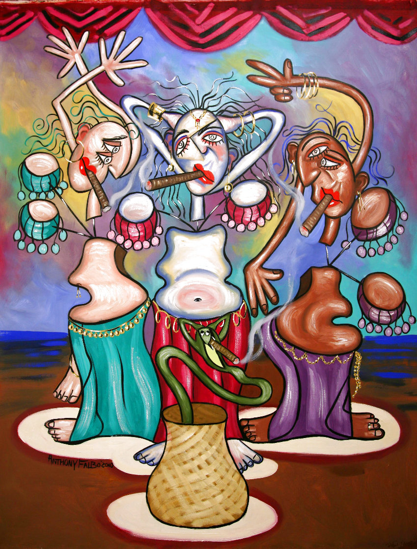 Smoking Belly Dancers 2010 51x39 Super Huge Original Painting by Anthony Falbo