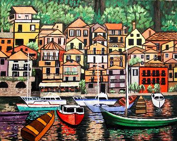 Lake Como Italy 2015 24x30 Original Painting - Anthony Falbo