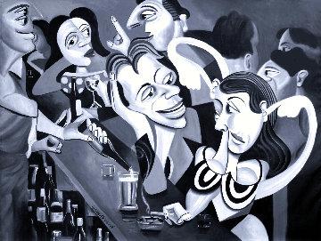 Talking Sweet Nothings At the Bar 2013 38x51 Huge Original Painting - Anthony Falbo